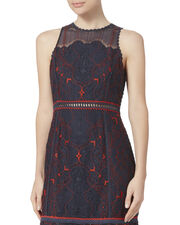 Two-Tone Lace Peplum Dress, , hi-res