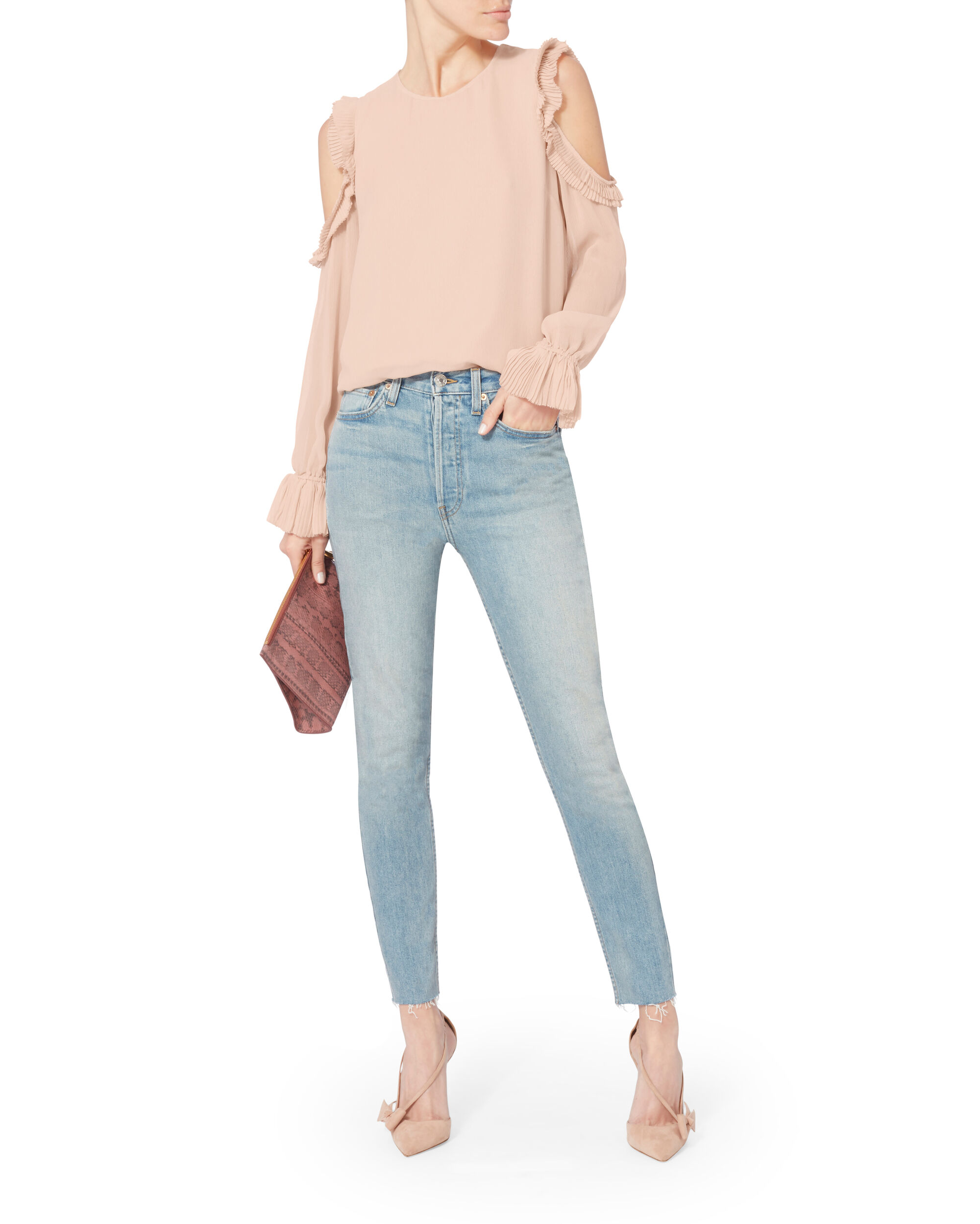Nelly Ruffle Cold Shoulder Top, BLUSH/NUDE, hi-res
