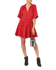 Robe Courte Lace-Up Dress, RED, hi-res