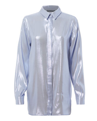 Blue Lame Button Down Blouse, BLUE-LT, hi-res