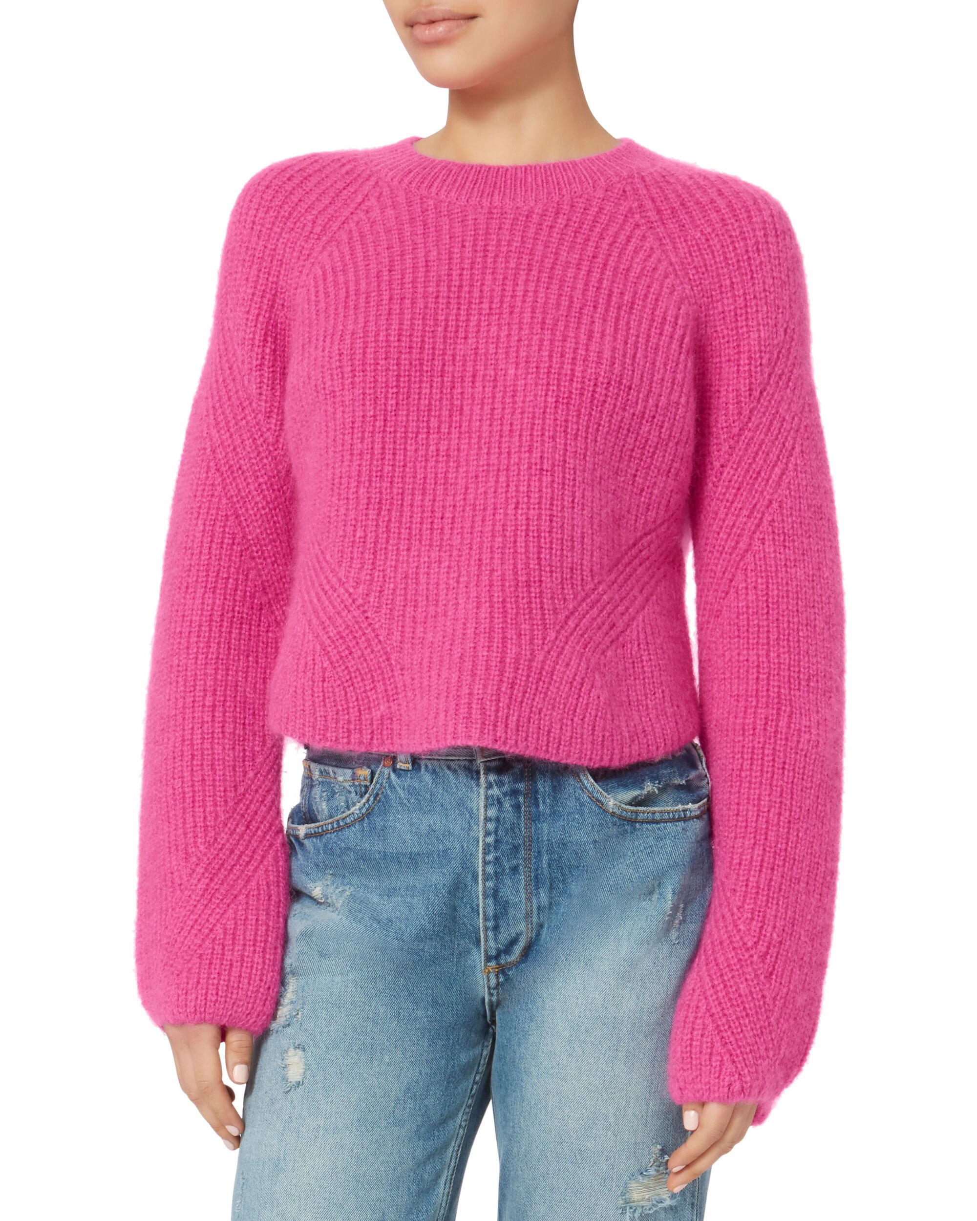 Luella Cropped Pink Pullover Sweater, PINK-MED 3, hi-res