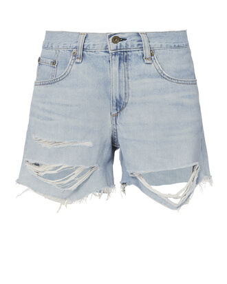 Shredded Boyfriend Shorts, DENIM, hi-res