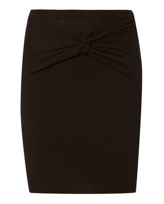 Knot Front Mini Skirt, BLACK, hi-res