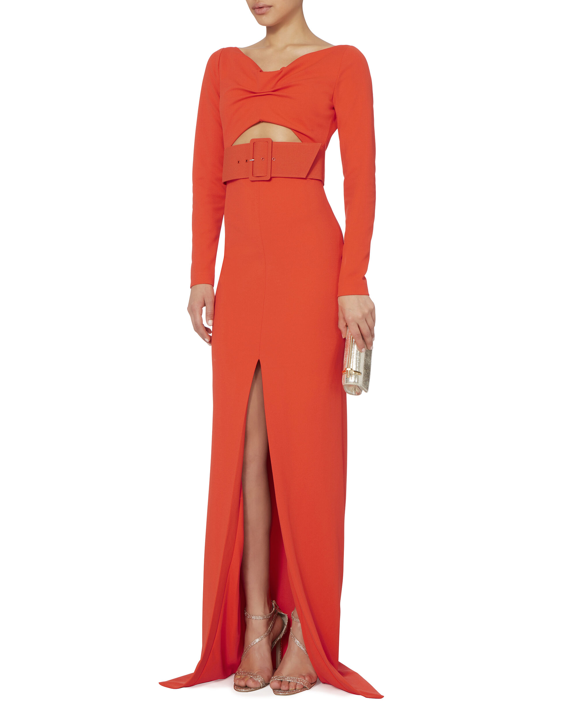 Adalene Belted Maxi Dress, RED, hi-res