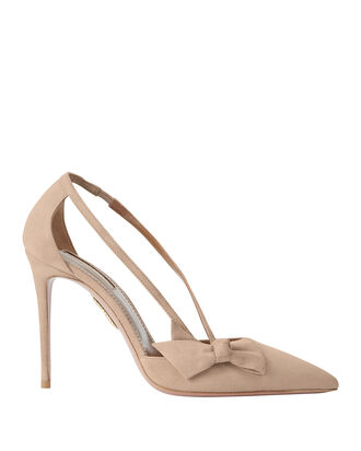 Parisienne Bow Suede Pumps, BLUSH, hi-res