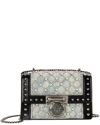 Denim Studded Boxed Flap Bag, DENIM, hi-res
