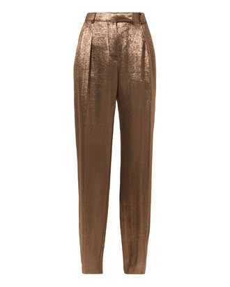 Bronze Lamé Trousers, BROWN, hi-res