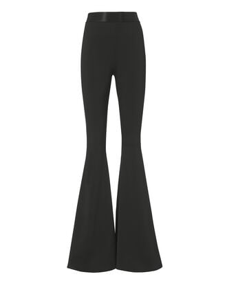 High-Waist Flare Black Trousers, BLACK, hi-res