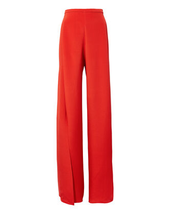 Ines Red Silk Pants, RED, hi-res