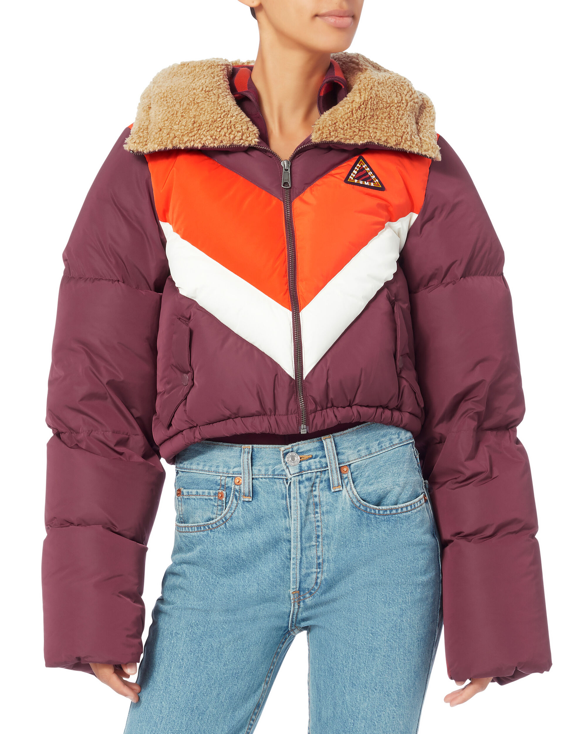 Quilted Chevron Burgundy Puffer Jacket, RED-DRK, hi-res