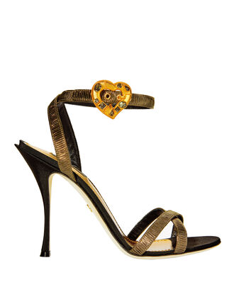 Gold Lurex Crystal Heart Buckle Sandals, METALLIC, hi-res