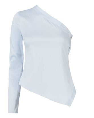 Sky One Shoulder Blouse, BLUE, hi-res