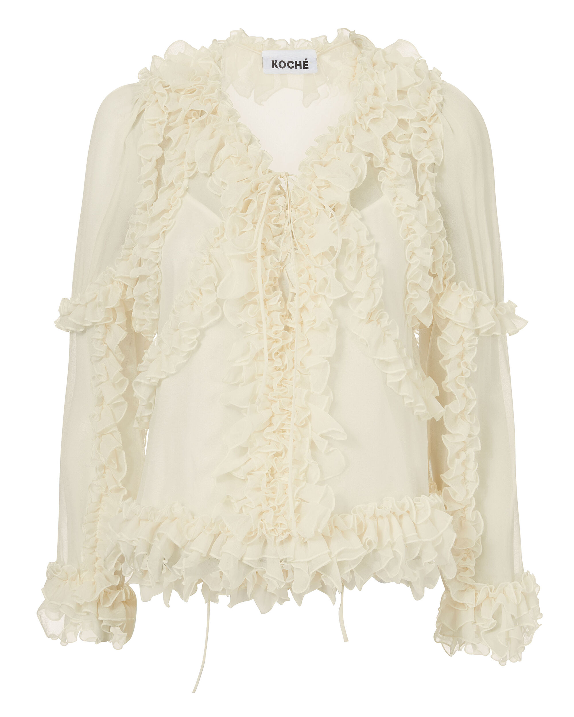 Ruffle-Trimmed Silk Blouse, WHITE 2, hi-res