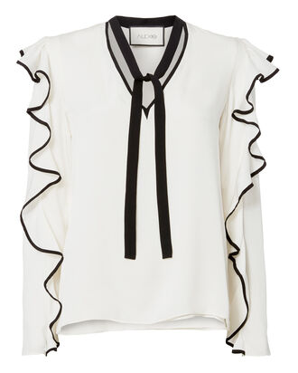 Darcy Ruffle Tie Neck Top, WHITE, hi-res