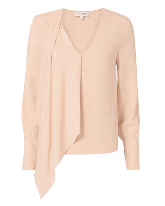 Sarah Asymmetric Silk Top, BLUSH, hi-res