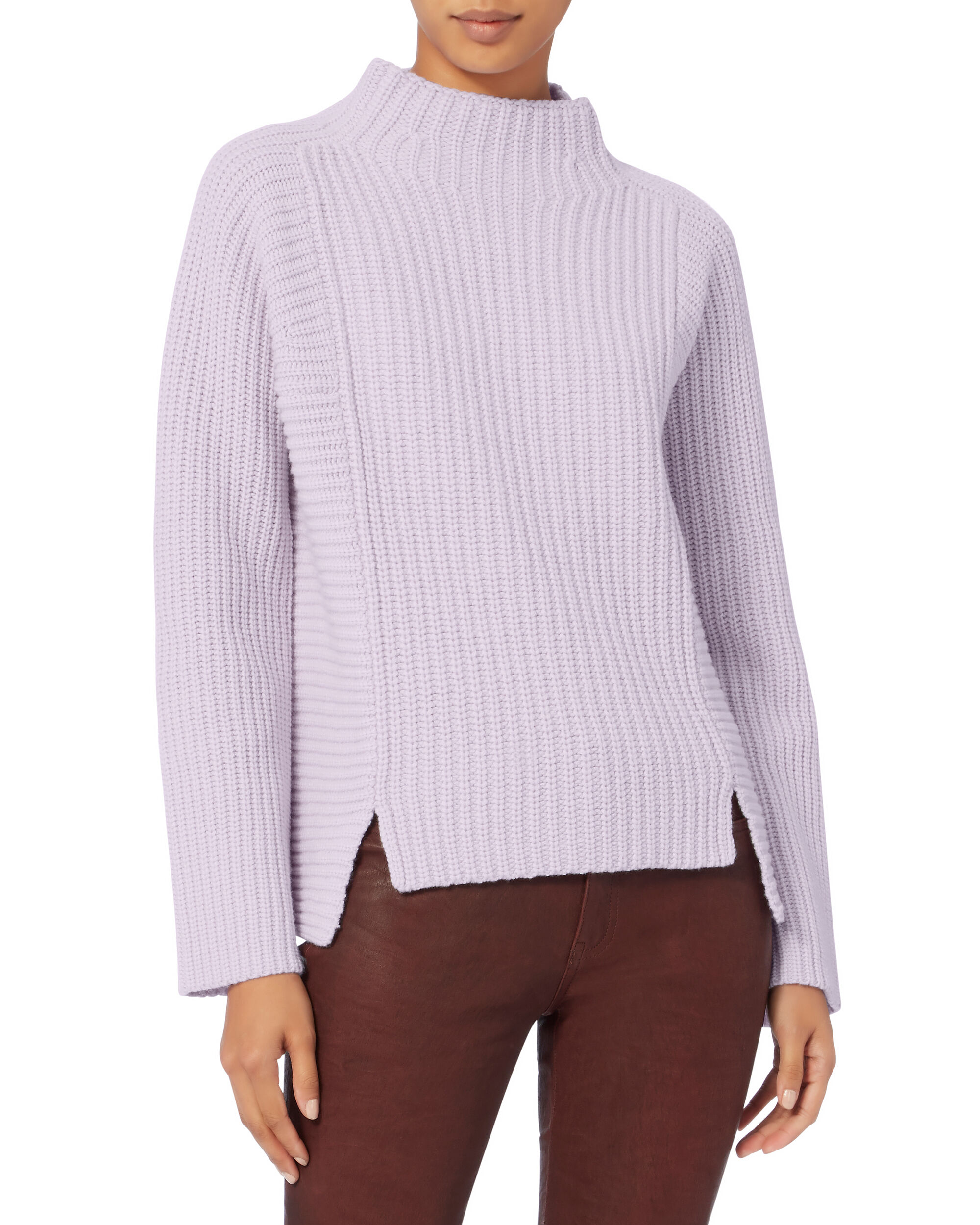 Keira Funnel Neck Lavender Sweater, PURPLE, hi-res