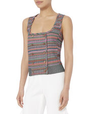 Check Knit Double-Breasted Vest Top, MULTI, hi-res