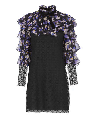 Floral Yoke Black Lace Dress, PRINT, hi-res