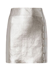 Silver Metallic Leather Mini Skirt, , hi-res