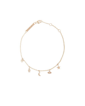 Itty Bitty Dangling Charm Bracelet, GOLD, hi-res