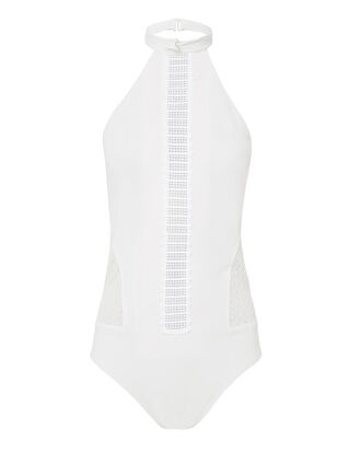Lace Halter One Piece Swimsuit, IVORY, hi-res