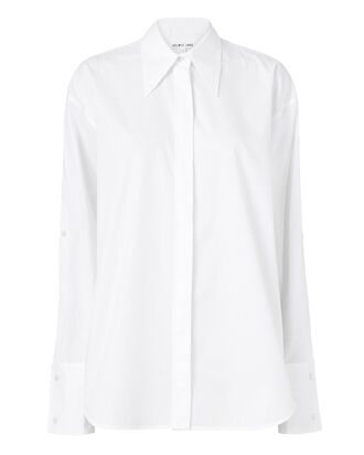 Sateen-Striped Sleeve Placket Shirt, WHITE, hi-res