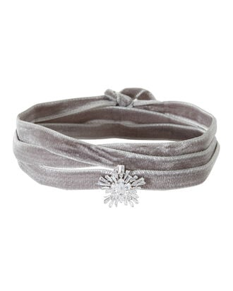 Monarch Velvet Starburst Wrap Choker, GREY, hi-res