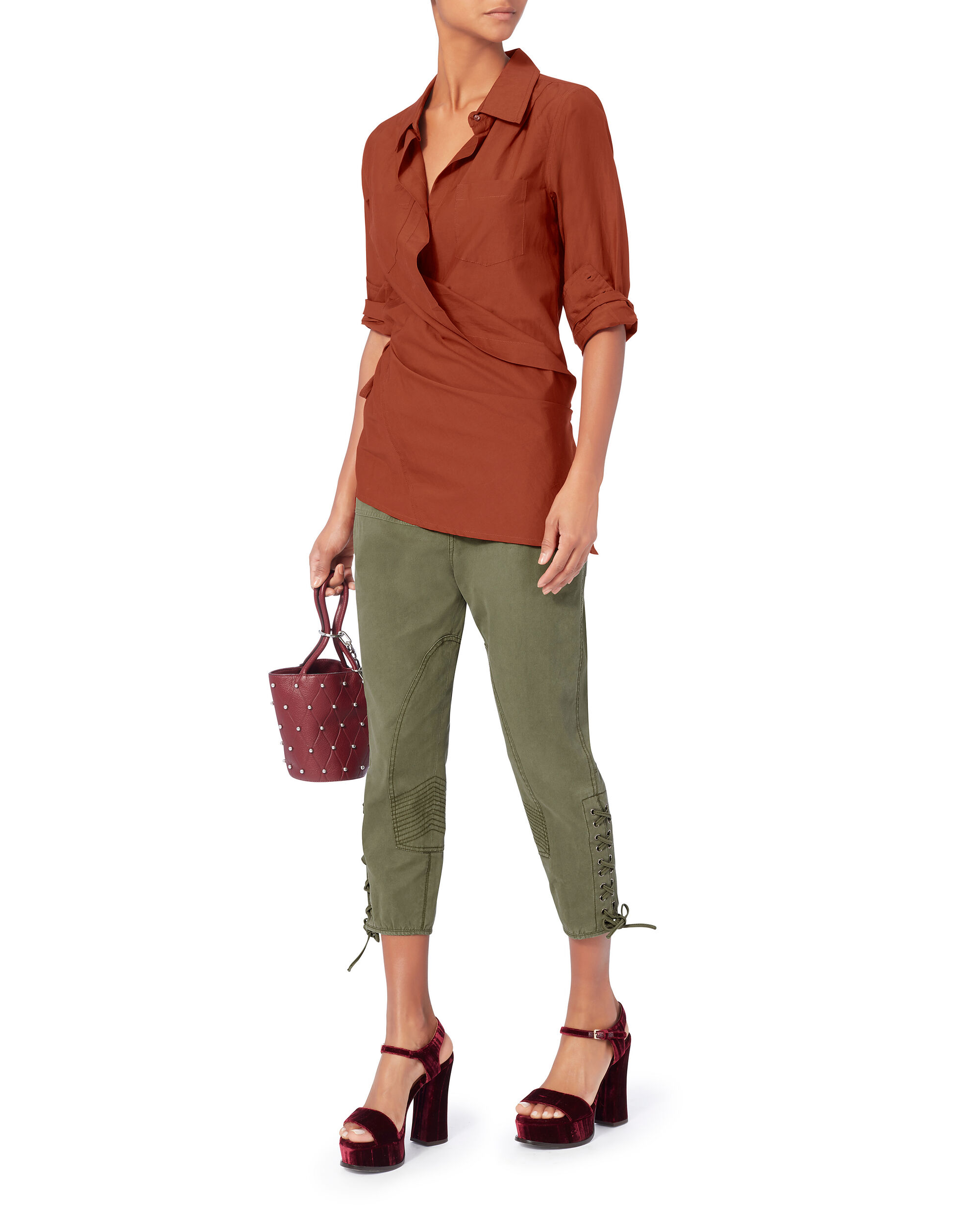 Roux Wrap Crimson Top, RED, hi-res