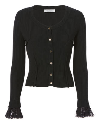 Star Buttoned Black Sweater, BLACK, hi-res