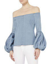 Gisele Denim Blouse, DENIM, hi-res