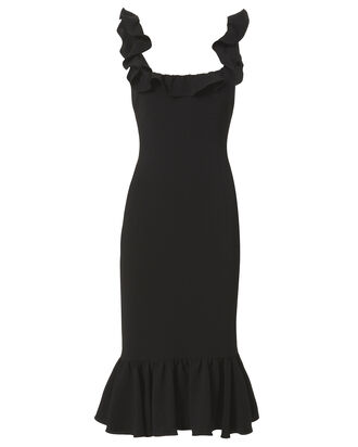 Opalina Ruffle Midi Dress, BLACK, hi-res