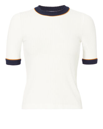 Ringer Ribbed Tee, WHITE, hi-res