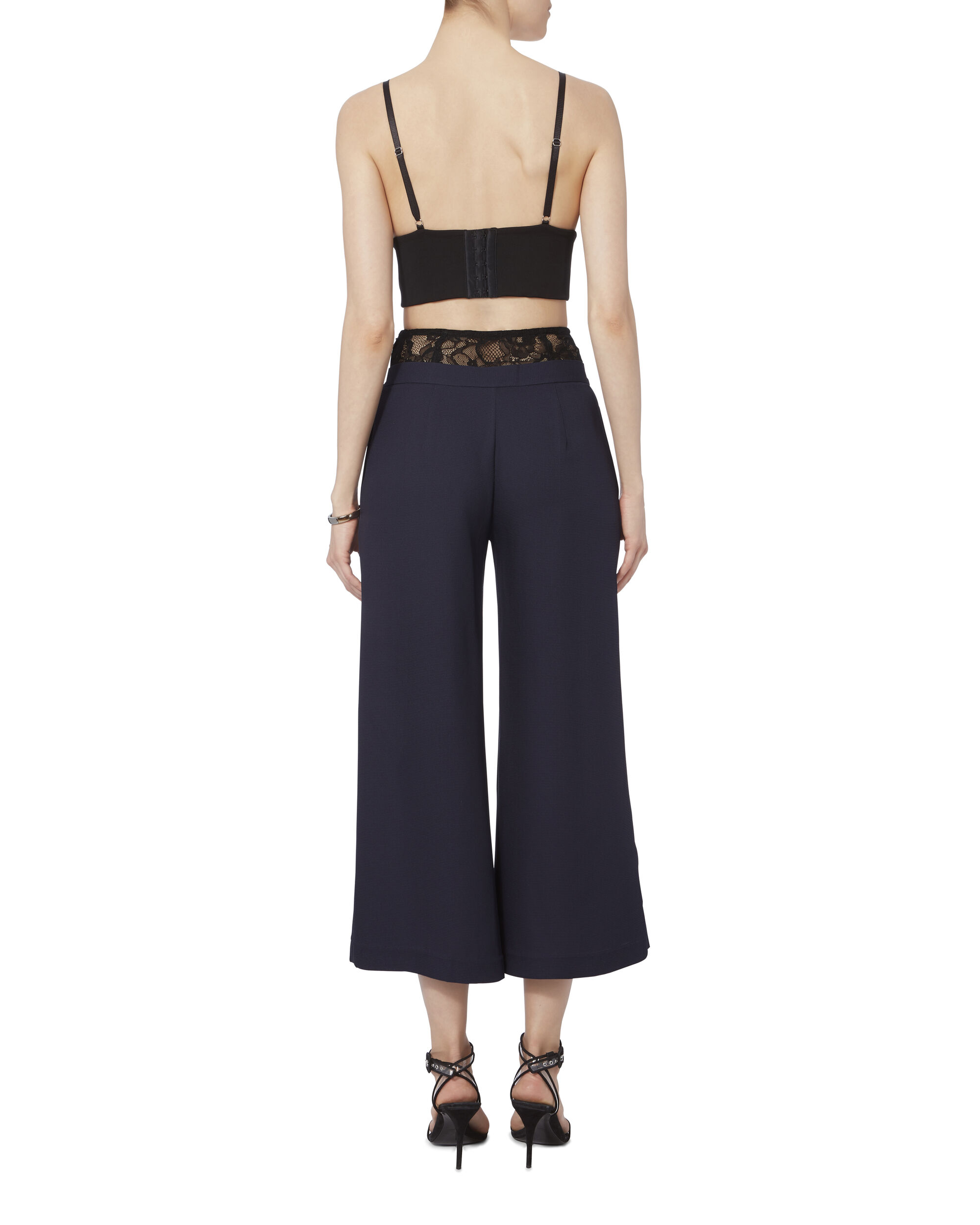 Lace Trim Slit Front Pants, NAVY, hi-res