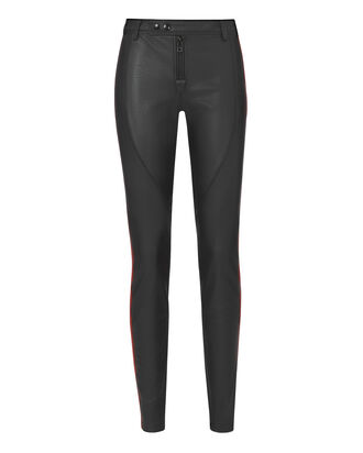 Red Stripe Faux Black Leather Pants, BLACK, hi-res