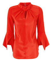 Ruched Neck Flare Sleeve Top, RED, hi-res