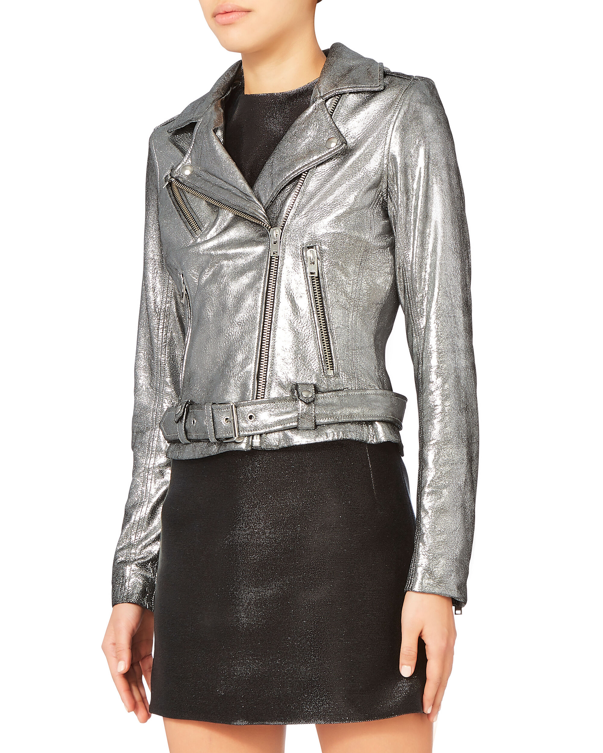 silver leather moto jacket