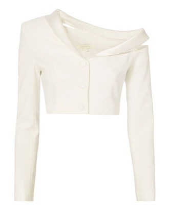 Crepe Combo Cropped Jacket, WHITE, hi-res