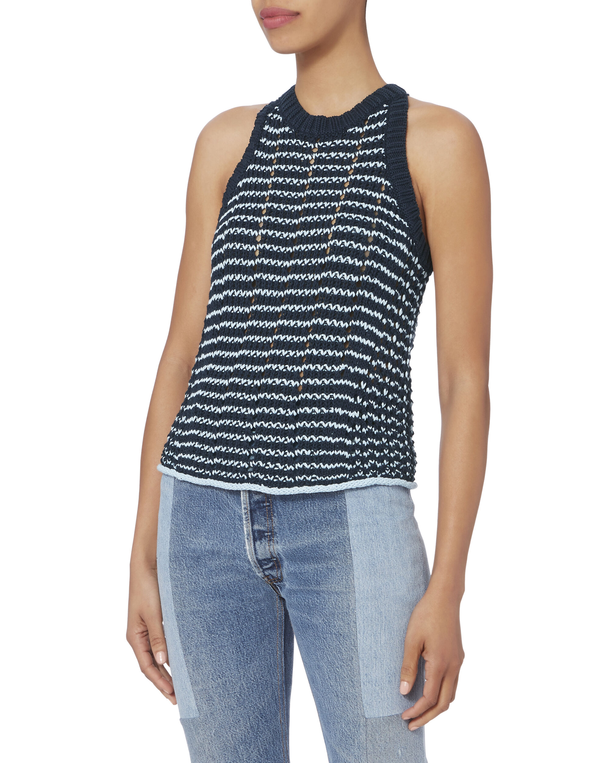Daniela Two-Tone Tank Top, NAVY, hi-res