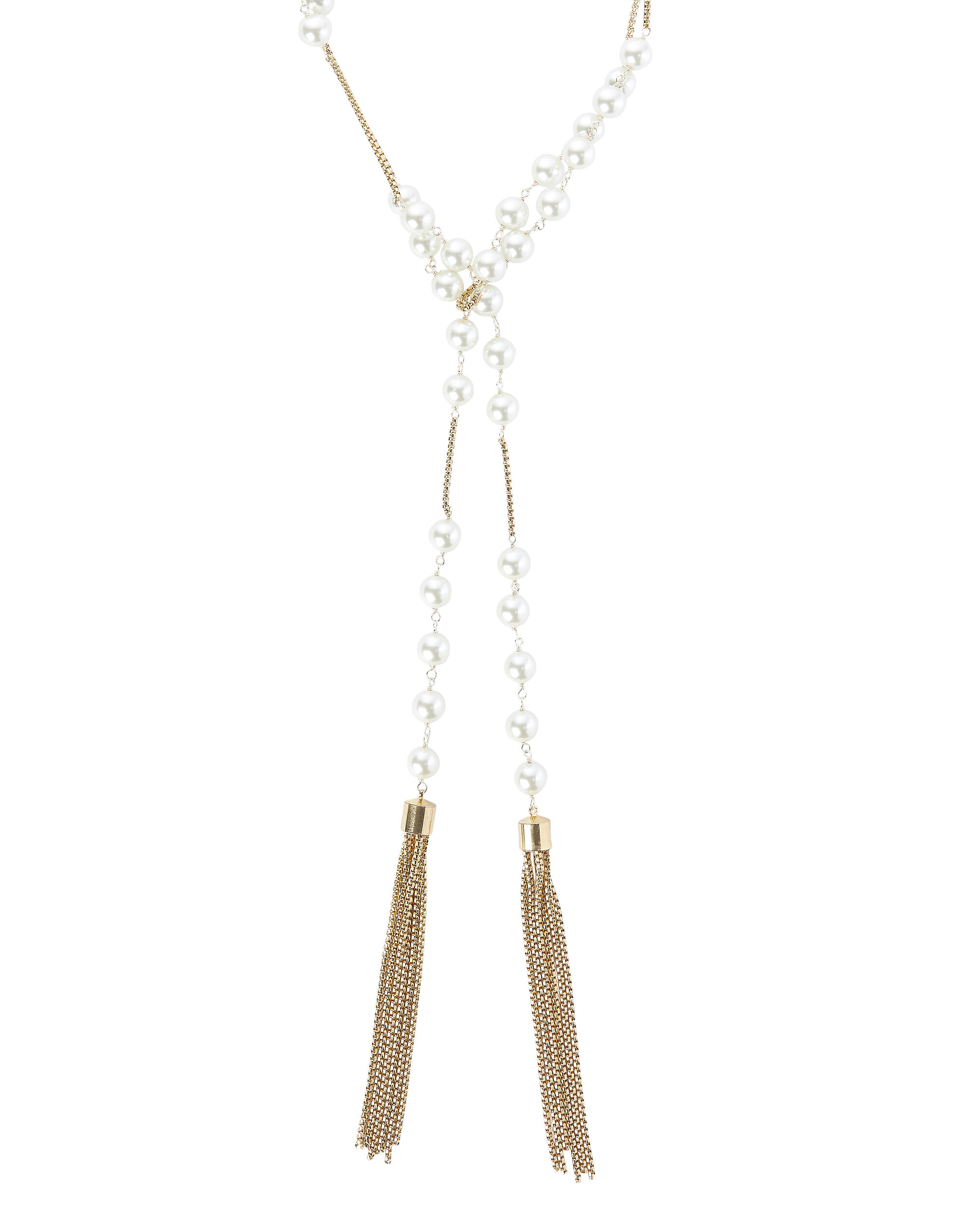 Pearl Lariat Box Chain Necklace, WHITE, hi-res