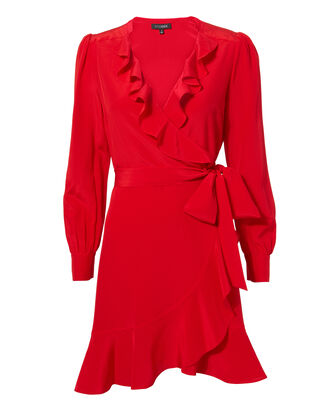Aviana Wrap Dress, RED, hi-res