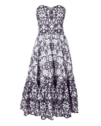 Embroidered Bustier Midi Dress, NAVY, hi-res
