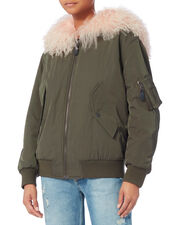 Light Pink Shearling Trim Army Bomber, OLIVE/ARMY, hi-res