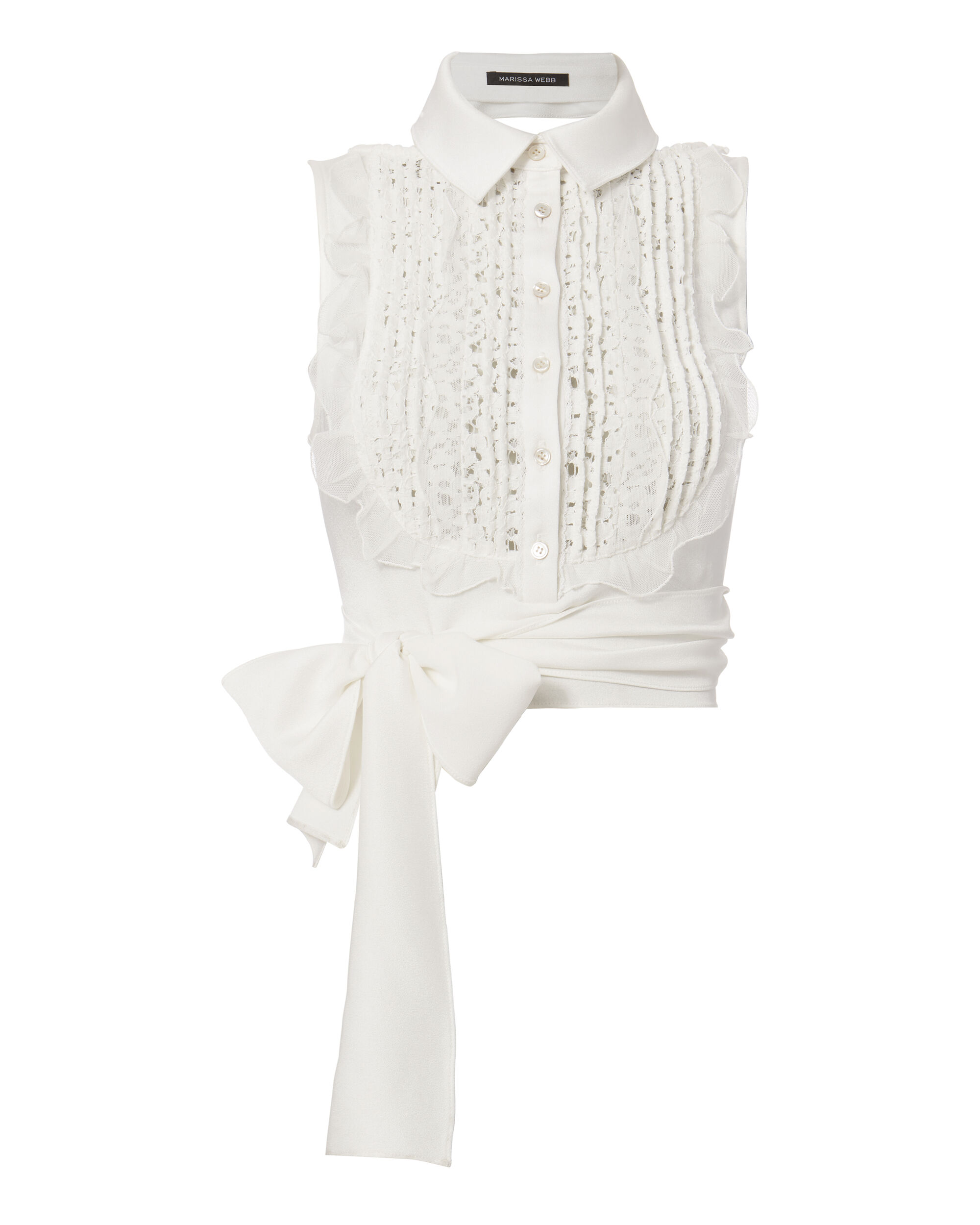 Shilo Crepe And Lace Blouse, WHITE, hi-res