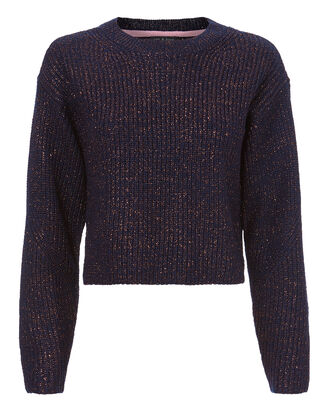 Jubilee Lurex Navy Cropped Sweater, NAVY, hi-res