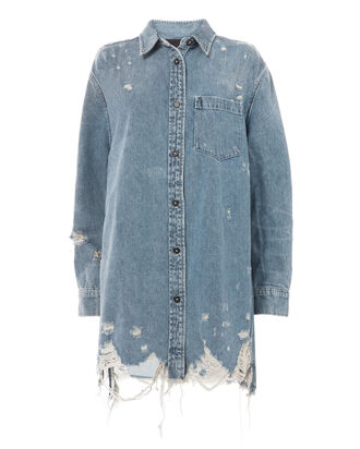 Oversized Denim Shirt Jacket, DENIM, hi-res