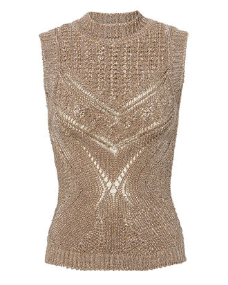 Metallic Knit Sleeveless Sweater, BEIGE, hi-res