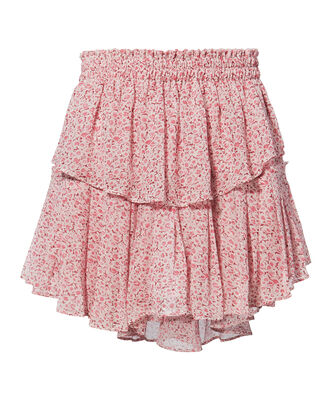 Pink Ruffle Mini Skirt, RED, hi-res