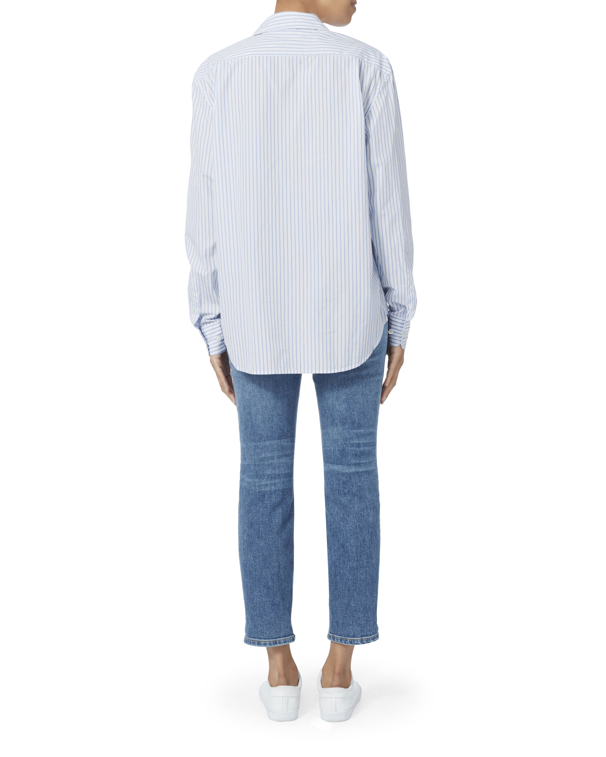 Capri Blue Striped Oversized Shirt, STRIPE, hi-res