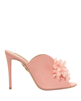 Lily Of The Valley Suede Mules, PINK, hi-res