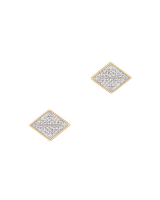 Tiny Pavé Diamond Folded Post Earrings, METALLIC, hi-res